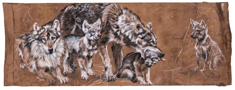 Loups gris européens - encaustique sur papier, marouflé sur bois – 60/140 cm