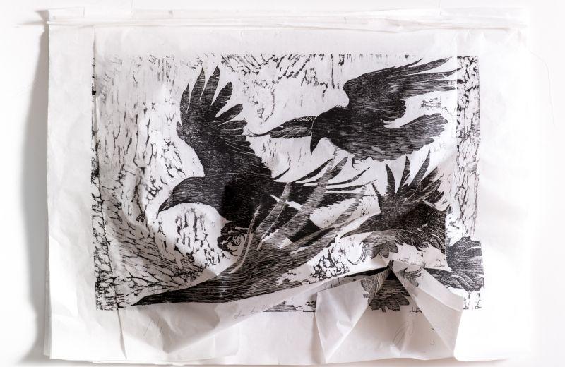 grands corbeaux - xylogravure - 70 95 cm en mouvement 1.jpg