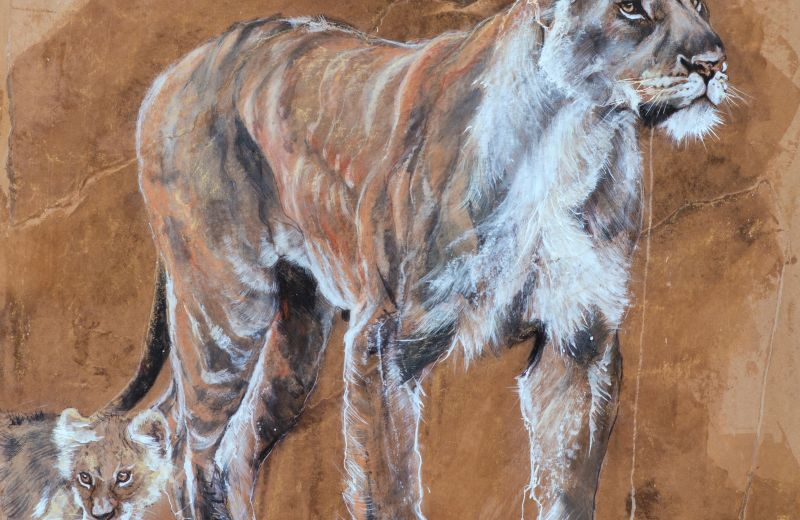lioness and cub - encaustique, craie grasse et or sur papier marouflé sur bois 8 85 cm.jpg