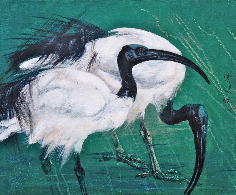 Ibis sacrés (II) - acrylique sur toile - 50/60 cm