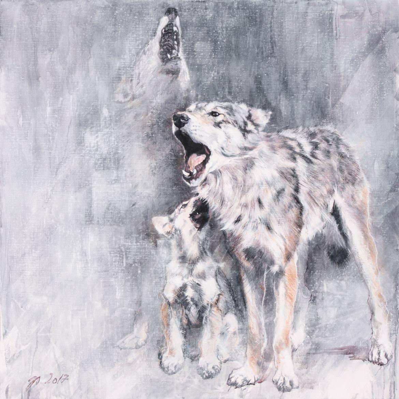 Loups gris européens : professeur Omega - encaustique sur toile – 100/100 cm