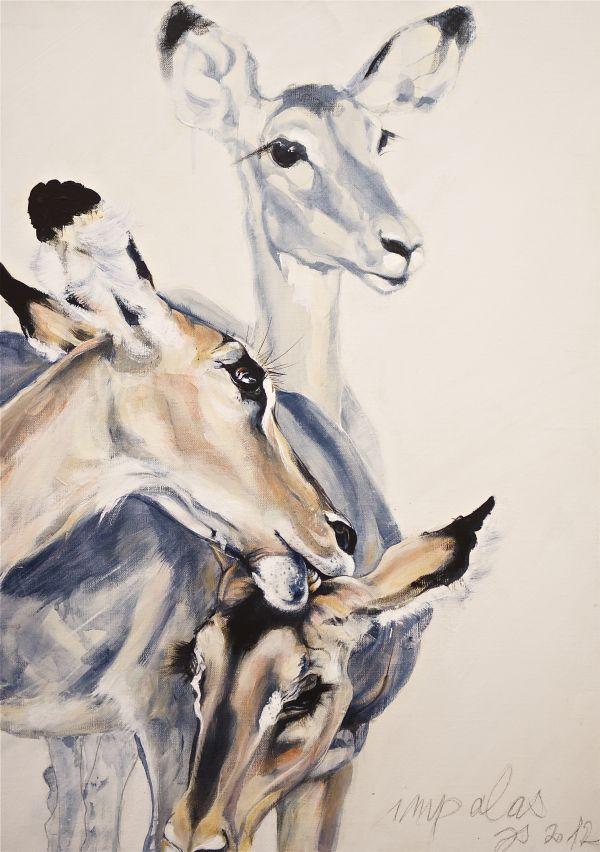 Certains matins les impalas sont presque bleues - acrylique sur toile- 50/70 cm