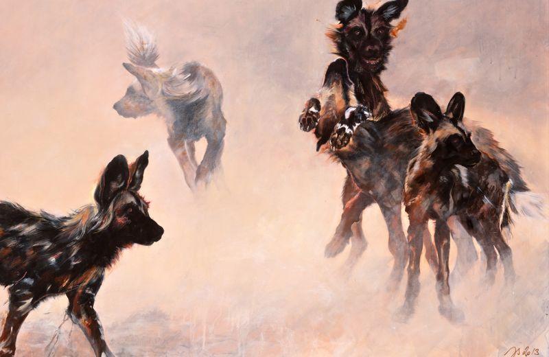 jeunes lycaons jouant dans la poussière - encaustique sur toile (2)- 11 162 cm.jpg