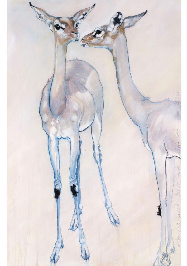 D'improbables gerenuks - acrylique sur toile - 162/97 cm