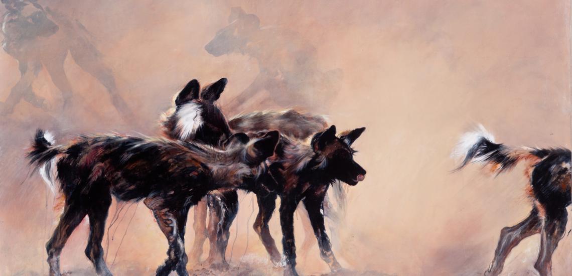 1eunes lycaons jouant dans la poussière - encaustique sur toile (1)- 11-162 .jpg