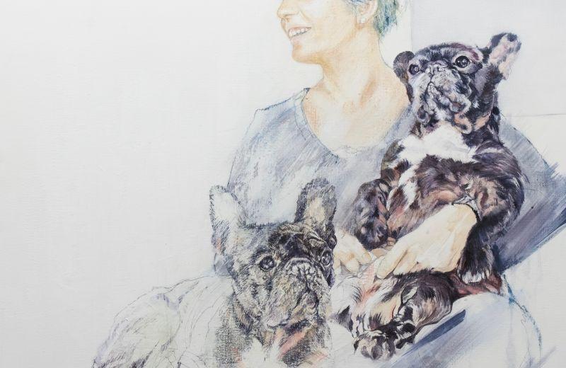 portrait bouledogue français - encaustique sur toile - 90::90 cm.jpg