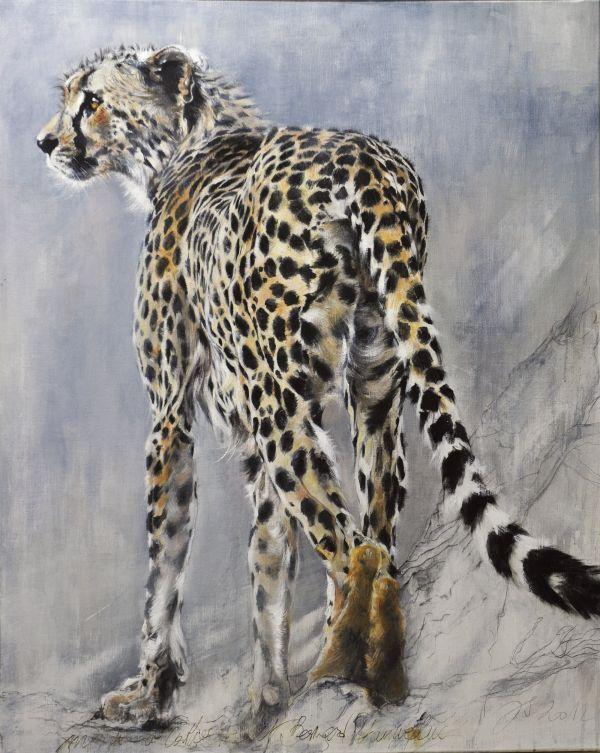 Un soir à Samburu - acrylique sur toile - 10/80 cm