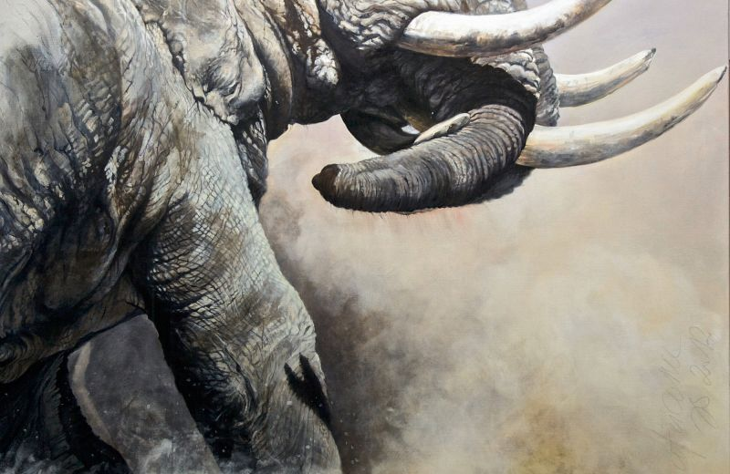 combat de mâles à Amboseli-acrylique sur toile-220-180 cm-2.jpg