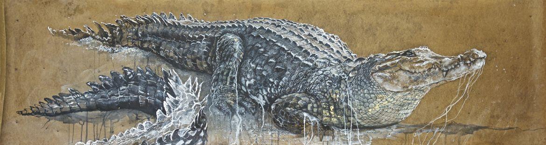 Crocodiles - encaustique sur papier kraft - 70/230 cm
