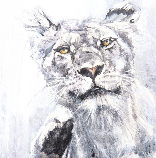 Scratching lioness - encaustique sur toile - détail