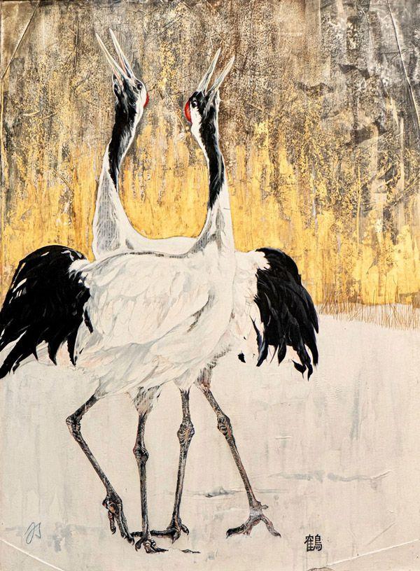 Julie Salmon : «grues du Japon N° 2» (Série Hokkaido) encres, gesso, ors et encaustique sur papier marouflé sur capamount • 132/100 cm